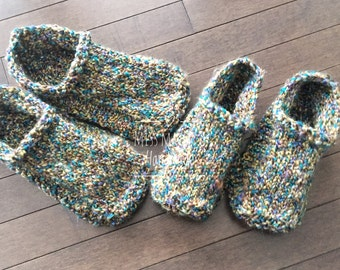 Ready to Ship Women's 11/12 Gripper Slippers - Multi Color Slippers - Non Slip House Shoes - Hand Knitted Slippers - Hand Knit Dorm Boots