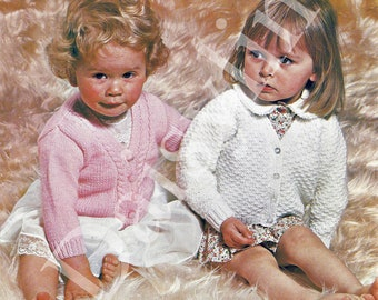 Almost Free  PDF Instant Download   Knitting Pattern  2 baby  child cardigans  20 to 24 inch  (87)