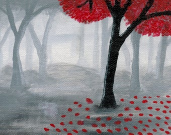 La Foresta Nebbiata - The Foggy Forest Acrylic Painting