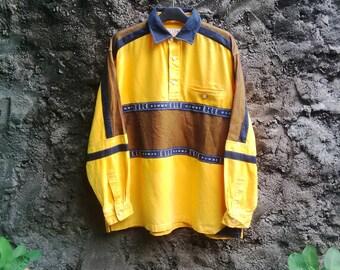 Vintage 90s ELLE Homme Paris Longsleeve multicolor. sz Medium