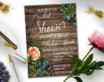 Rustic Bridal Shower Invitation Country Bridal Shower Invite  Printable Invitation  Rustic wedding shower invite  Instant Download