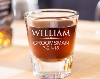 Engraved Classic Groomsmen Shot Glasses - JM239188