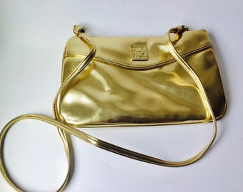 Vintage Anne Klein Gold Leather Crossbody Bag/Vintage Anne Klein/Gold Leather Bag/Gold Purse/Anne Klein For Calderon/Gold Accessories