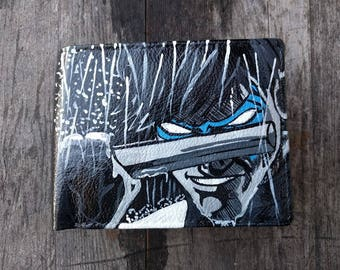Hand Painted Nightwing Leather Wallet, Nightwing Wallet, Comic Book, Leather Wallet