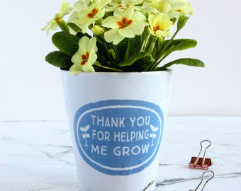 Personalised Teacher's Plant Pot, Personalised Plant Pot, Personalised Teacher Gift, Thank You Plant Pot