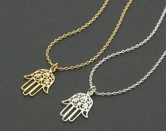 Hamsa Hand Necklace / fatima necklace, hand of fatima, amulet necklace, hand of God, middle eastern inspired / N0-68