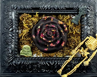 Morticia Black Rose Scented LARGE Rose Bath Bombs w. Real Roses