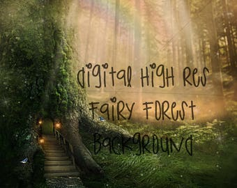 Fairy fantasy forest digital background/backdrop for photoshop