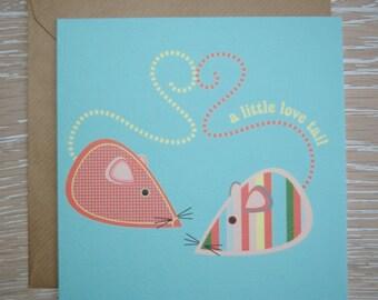 Valentines Day Card - Love Card - Anniversary Card - Boyfriend / Girlfriend Card - A little love tail