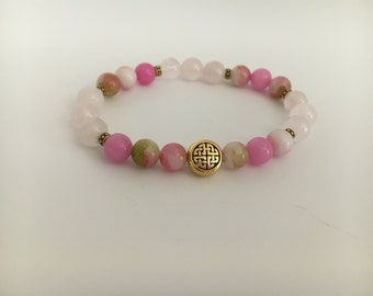 Appear younger graceful aging express love rose quartz kindnesss beauty gift meditation bracelet anxiety relief heart health beaded bracelet