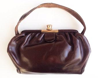 Vintage leather purse, Vintage brown leather handbag, Vintage leather purse, Vintage handbag