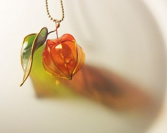 Physalis with leaf. Necklace. Resin jewelry.