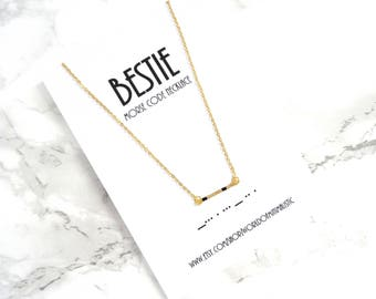 BESTIE morse code necklace, sorority jewelry,Friendship gift, morse code jewelry, minimalist dainty bar necklace, Best friends gift