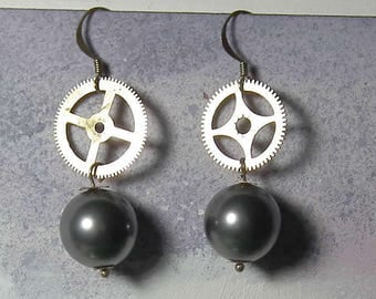 Steampunk earrings  with big grey Swarovski beads   and brass colour  gears .