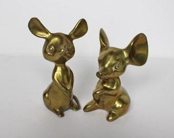 Pair of Brass Mice Figurines