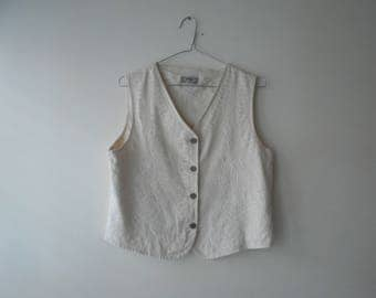 90's Embroided Cream Button Up Vest