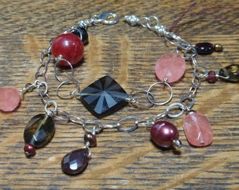 Sterling Plate brass and semi precious stones bracelet