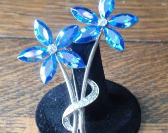 Sparkling Blue AB Blue Rhinestone Flower Brooch