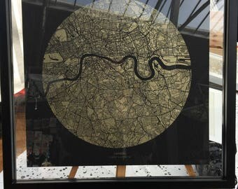 Limited edition gold London screen print unframed