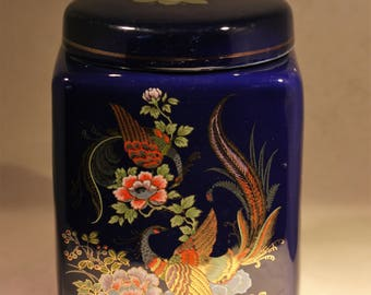 Blue Ceramic Jar with Lid * Pheasants and Flowers