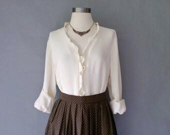 vintage 100% silk button down ruffle long sleeve blouse/shirt/top size M/L