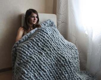 Chunky knit blanket, Chunky knit throw, Merino wool blanket, Arm knit blanket, Super chunky blanket, Super thick blanket