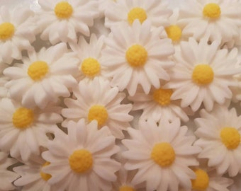 18 Edible Sugar Paste Pretty White Daisies Flowers Birthday Wedding Anniversary Party Cake Cupcake Toppers
