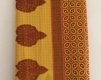 Free Shipping Vintage paisley Design Printed  Fabric Decorative Curtain Drape Indian Women Saree VKEA145