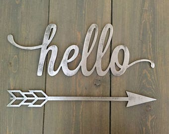 Rustic Metal Hello Script Home Decor