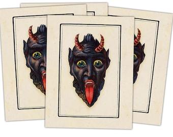 Victorian Krampus- The Christmas Demon individual holiday card (Krampus Face) Blank Inside