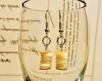 Earth Toned Mother of Pearl Stacked Dangle Earrings,  Valentine,  Gifts for Her, Gifts for Mom.