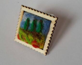 Landscape scene needle felted brooch