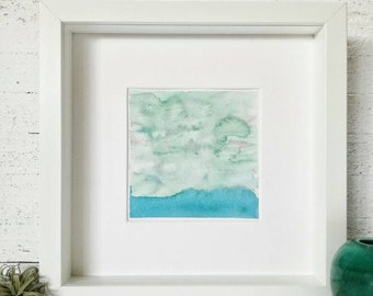 Original watercolor in green shades of an abstract and minimalist seascape 5x5 inches // NO FRAME