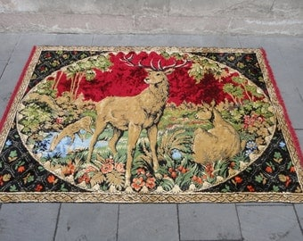 Deers illustrated wall hanging rug,decorativ hanging rug,71 x 47 inches