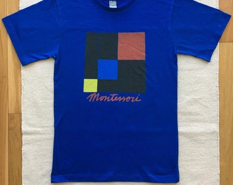 Montessori Trinomial Cube Adult 100% cotton T-shirt in Royal Blue