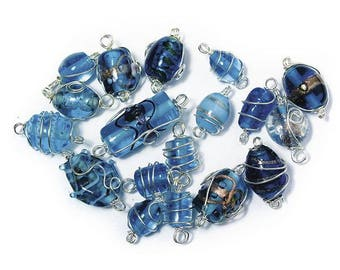 Aquamarine glass beads with silver wire, from 12 to 25 mm RAY-3314100825