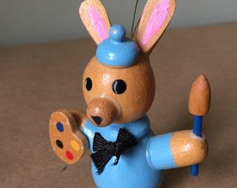 Wooden Bunny As Artist Easter Ornament Easter Egg Painter