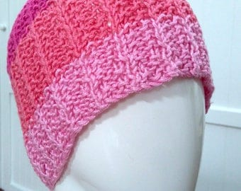 Ladies Striped Bright Pink Hand Knitted 100% Bamboo Wool Beanie