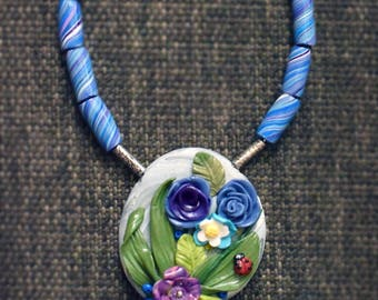 PEBBLE VI -PolymerClay Fashion Jewelry, Nature Inspired Jewelry, Floral PendanT