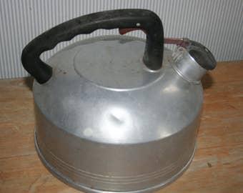 Vintage Aluminum Whistling Tea Kettle ,  2 1/2 Quart, Farmhouse  Kitchen Decor ,  Rustic Kitchen ,  Shabby Chic Kitchen