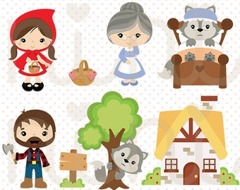 Little Red Riding Hood vector, Wolf clipart - Commercial use -  C020