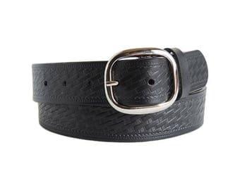 Black Weave Leather Belt