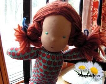 Britta, large, soft, supple red head cuddle doll, organic cotton waldorf doll, large steiner baby girl doll, waldorf baby girl, toddler doll