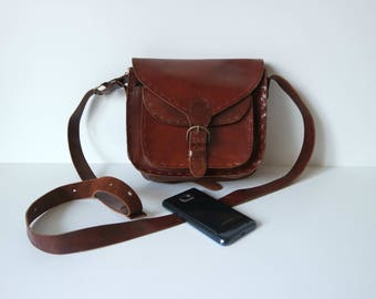Vintage Brown Leather Messenger Bag, Leather Crossbody Bag, Small Sizez Messenger Bag, Leather Satchel