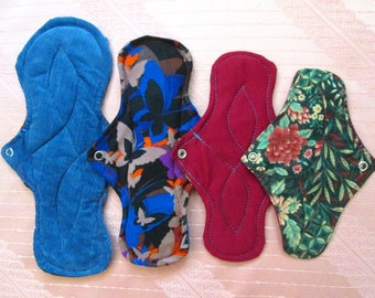 Bunble of 4 pads~ 1 Overnight pad + 1 Large pad + 1 Medium pad + 1 Pantyliner~ washable cloth pads~ healthy, reusable, eco friendly!