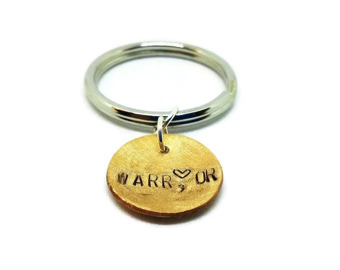 Warrior Key Chain, Metal Keychain, Hand Stamped Key Chain, Copper Key Chain, Unique Birthday Gift