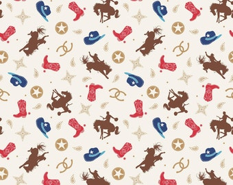 Riley Blake Road Cowboy Toss Multi Fabric by Samantha Walker -  cowgirl horses rodeo cotton brown quilting material C5631R-MULTI boots