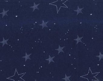 Navy Lucky Star Flannel from Sarah Jane for Michael Miller - cotton flannel FD7194-NVY