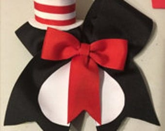 """Dr. Seuss """"Cat In Th Hat"""" inspired cheer bow"""