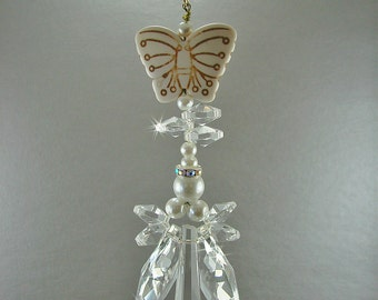 Angel suncatcher, pearl suncatcher, memorial angel, angel ornament, crystal car charm, angel car charm, rear view mirror, hanging angel